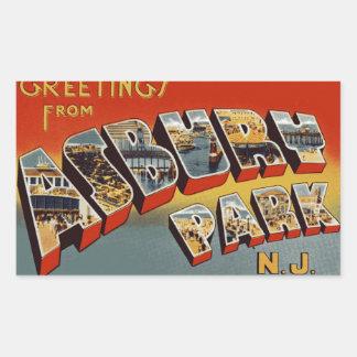 Cumprimentos do parque NJ de Asbury Adesivo Retangular
