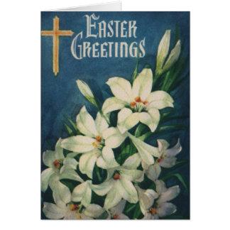 Cumprimentos religiosos da páscoa do vintage com cartão comemorativo
