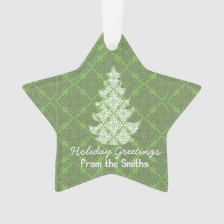 Cumprimentos verdes clássicos da árvore do damasco ornamento