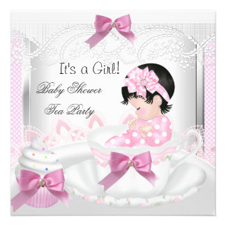 Cupcake 35 do Teacup do bebê do rosa da menina do Convite