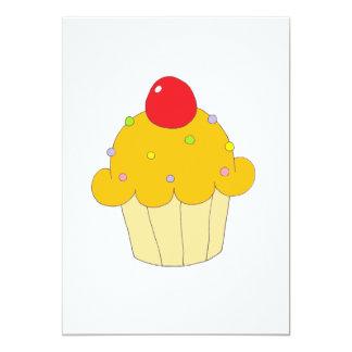 Cupcake alaranjado convite 12.7 x 17.78cm