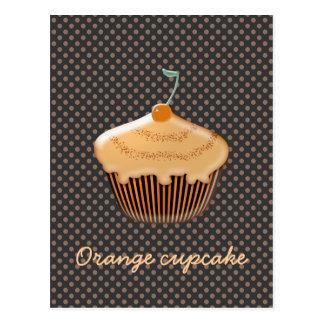 cupcake alaranjado saboroso cartão postal