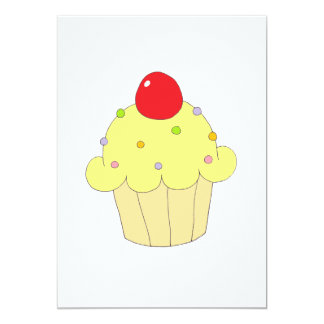 Cupcake amarelo convite 12.7 x 17.78cm