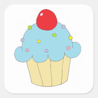 Cupcake azul adesivo quadrado