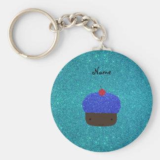 Cupcake azul conhecido personalizado do brilho chaveiro