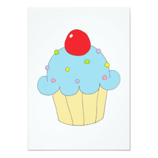Cupcake azul convite 12.7 x 17.78cm