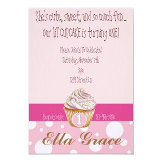 Cupcake & bolinhas convite 12.7 x 17.78cm