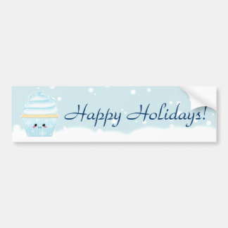 Cupcake bonito do floco de neve do Natal de Kawaii Adesivo Para Carro