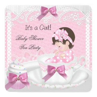 Cupcake Brown do Teacup do bebê do rosa da menina Convite Quadrado 13.35 X 13.35cm