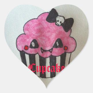 Cupcake com coração adesivo coração