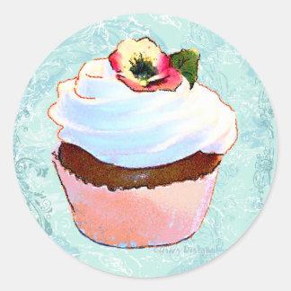 Cupcake com etiquetas do design da arte do amor adesivo