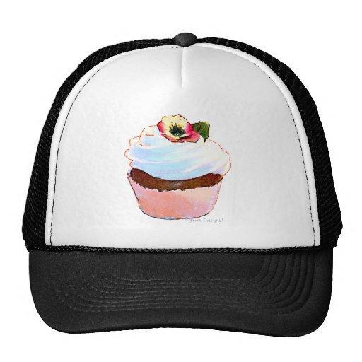 Cupcake com o boné do camionista do design da arte