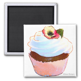 Cupcake com o ímã do design da arte do amor perfei imas de geladeira