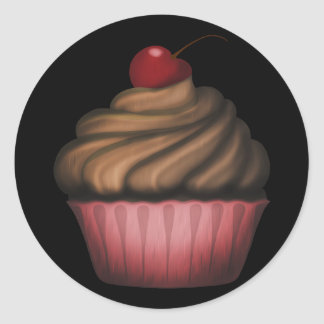Cupcake cor-de-rosa bonito adesivo