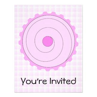 Cupcake cor-de-rosa bonito convites personalizado