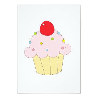 Cupcake cor-de-rosa convite 12.7 x 17.78cm