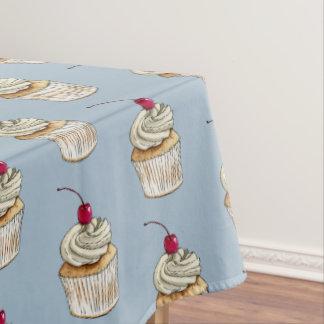 Cupcake da aguarela com chantiliy e cereja toalha de mesa