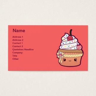 Cupcake da baunilha da cereja cartão de visitas