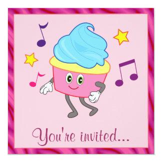 Cupcake da dança da festa de aniversário convites personalizado