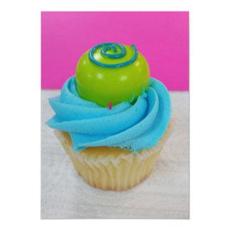 Cupcake do aniversário convite 12.7 x 17.78cm