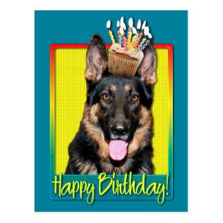 Cupcake do aniversário - german shepherd - Kuno Cartão Postal