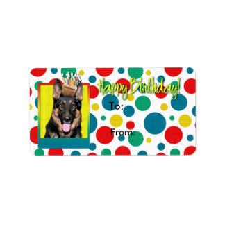 Cupcake do aniversário - german shepherd - Kuno Etiqueta De Endereço