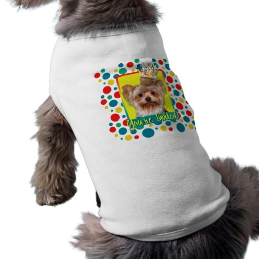 Cupcake do convite - yorkshire terrier roupa para pets