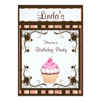Cupcake do feliz aniversario convite 12.7 x 17.78cm