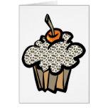 cupcake do impressão do leopardo cartões