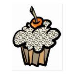 cupcake do impressão do leopardo cartoes postais