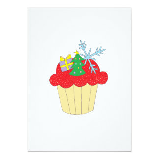 Cupcake do Natal Convite 12.7 X 17.78cm