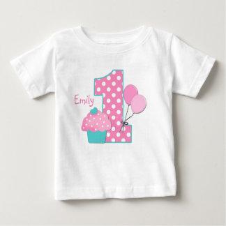 Cupcake e balões camiseta para bebê