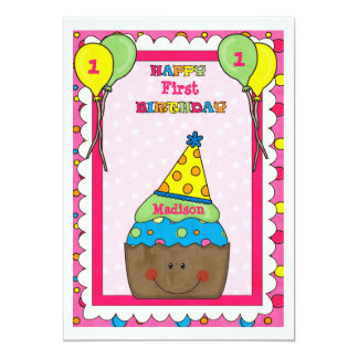 Cupcake feliz - convite de aniversário