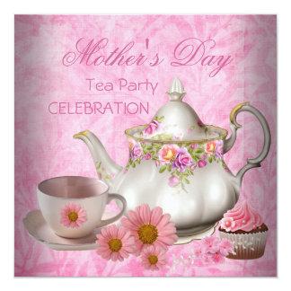 Cupcake floral cor-de-rosa branco do chá do dia convite quadrado 13.35 x 13.35cm