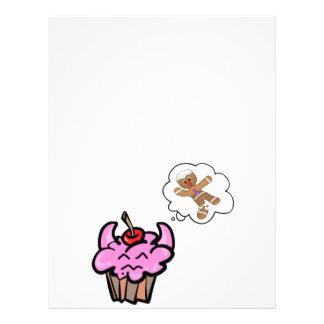 Cupcake mau engraçado do assassino do biscoito panfletos coloridos