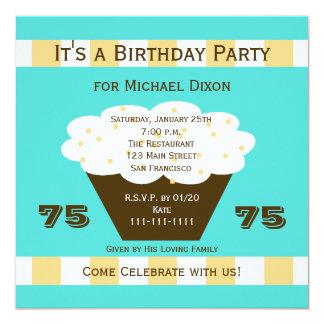 Cupcake no convite de aniversário do Aqua 75th