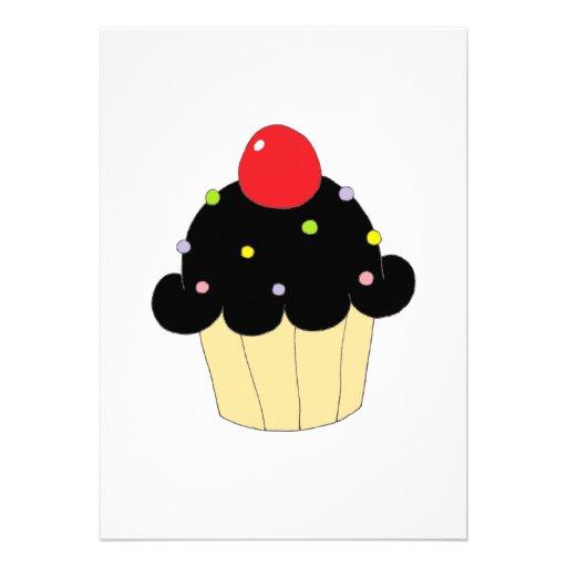 Cupcake preto convites personalizado