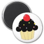 Cupcake preto imãs de geladeira