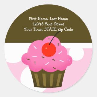 Cupcake REDONDO Brown/rosa da cereja das etiquetas Adesivo