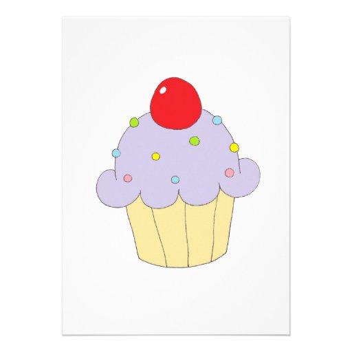 Cupcake roxo convites personalizado
