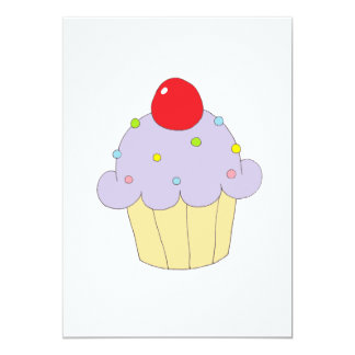 Cupcake roxo convite 12.7 x 17.78cm