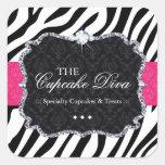 Cupcake Sassy da zebra - etiquetas de empacotament Adesivos Quadrados