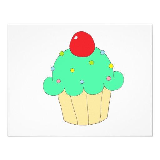 Cupcake verde convites personalizado