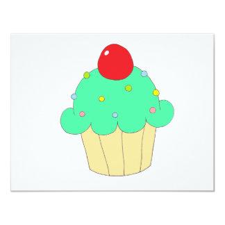 Cupcake verde convite 10.79 x 13.97cm
