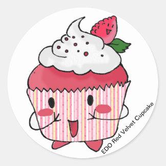 Cupcake vermelho de veludo de EDO Adesivo