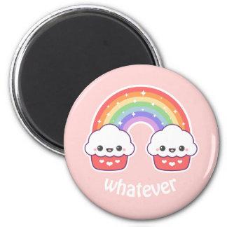 Cupcakes bonitos do arco-íris imã