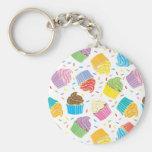 Cupcakes coloridos chaveiros