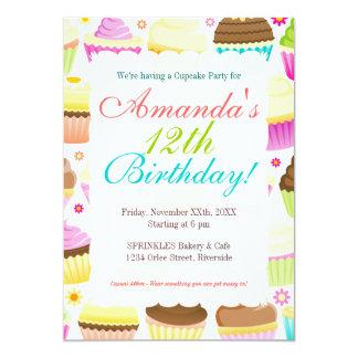 Cupcakes coloridos convite 12.7 x 17.78cm