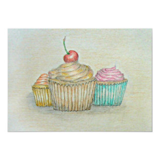 Cupcakes Convite 12.7 X 17.78cm