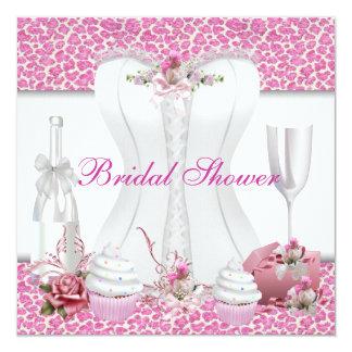 Cupcakes cor-de-rosa brancos Champagne do chá de Convite Quadrado 13.35 X 13.35cm